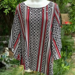 ALFANI Striped Dressy Top Shirt Blouse Plus 1X